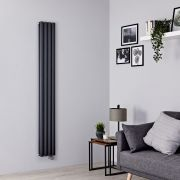 Milano Aruba Slim Electric - Anthracite Vertical Designer Radiator - 1780mm x 236mm (Double Panel)