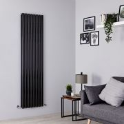 Milano Aruba - Black Vertical Designer Radiator - 1780mm x 472mm (Double Panel)