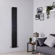 Milano Aruba Slim - Black Space-Saving Vertical Designer Radiator - 1780mm x 236mm (Double Panel)