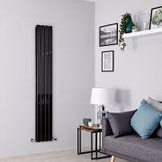 Milano Alpha - Black Flat Panel Vertical Designer Radiator - 1780mm x 280mm (Double Panel)