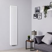 Milano Aruba Flow - White Vertical Middle Connection Designer Radiator - 1780mm x 354mm (Double Panel)