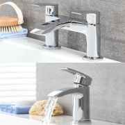 Milano Razor - Modern Deck Mounted Basin and Matching Bath Filler Tap Set - Chrome