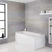 Milano Newby - White Modern Left Hand P-Shape Shower Bath - 1500mm x 800mm (No Tap-Holes)