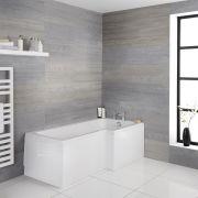 Milano Elswick - White Modern Right Hand Square Shower Bath - 1700mm x 850mm