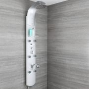 Milano Baya - Modern Exposed Thermostatic Shower Tower Panel with Large Shower Head, Hand Shower and Body Jets - Chrome
