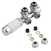 """Milano - Chrome 3/4"""" Male H-Block Angled Valve With White TRV Head - 15mm Copper Adapters"""