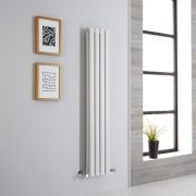 Milano Aruba Aiko - White Vertical Designer Radiator - 1400mm x 236mm (Double Panel)