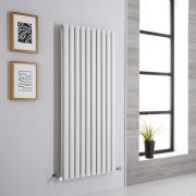 Milano Aruba Aiko - White Vertical Designer Radiator - 1400mm x 590mm (Double Panel)