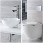 Milano Irwelll - Modern Wall Hung Toilet and Countertop Basin Set