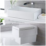 Milano Westby - Modern Wall Hung Toilet and Countertop Basin Set