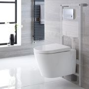 Milano Ballam - White Modern Wall Hung Toilet with Tall Wall Frame - Choice of Flush Plate