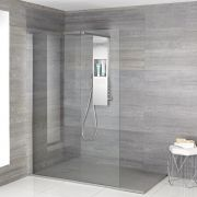 Milano Vaso - Complete Walk-In Shower Enclosure with Grey Slate Tray and Shower Tower - Choice of Sizes