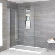 Milano Vaso - Complete Walk-In Shower Enclosure with Slimline Tray and Shower Tower - Choice of Sizes