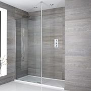 Milano Alto - Recessed Walk-In Shower Enclosure with Tray and Return Panel - Choice of Sizes