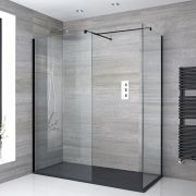 Milano Nero - Corner Walk-In Shower Enclosure with Slate Tray - Choice of Sizes