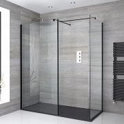 Milano Nero - Corner Walk-In Shower Enclosure with Slate Tray and Hinged Return Panel - Choice of Sizes
