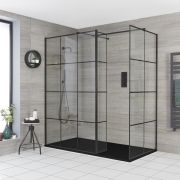Milano Barq - Corner Walk-In Shower Enclosure with Hinged Return Panel and Slate Tray - Choice of Sizes