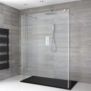Milano Portland - Floating Walk-In Shower Enclosure with Slate Tray and Hinged Return Panels - Choice of Sizes