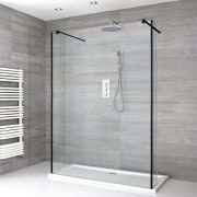 Milano Nero - Floating Walk-In Shower Enclosure with Tray and Hinged Return Panels - Choice of Sizes