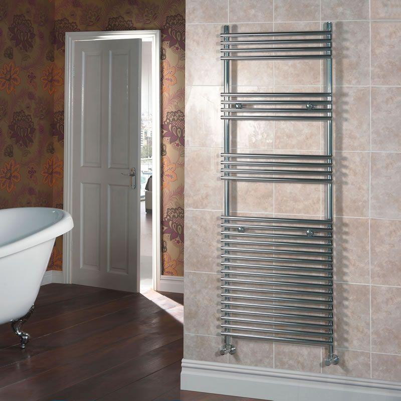 Kudox Flat Electric Towel Radiator: Chrome Flat Bar On Bar Heated Towel Rail