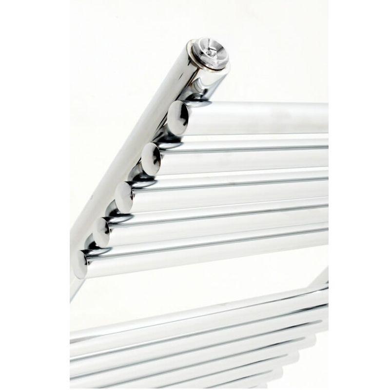 Rogerseller Fold Single 750 Heated Towel Rails: Flat Chrome Bar On Bar Towel Rail 750mm X 450mm