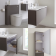 Milano Oxley - Grey Modern 800mm Vanity Unit with Basin, WC Unit, Back to Wall Pan, Storage Unit and Mirror