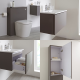 Milano Oxley 600mm Vanity Unit with Basin, WC Unit and Back to Wall Pan, Storage Unit and Mirror - Matt Grey