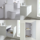 Milano Oxley - White Modern 600mm Vanity Unit with Basin, WC Unit, Back to Wall Toilet, Storage Unit and Mirror