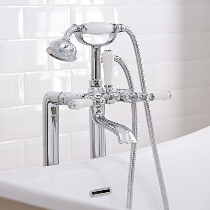 Milano Select - Traditional Lever Head Floor Standing Bath Shower Mixer Tap including Hand Shower - Chrome/White