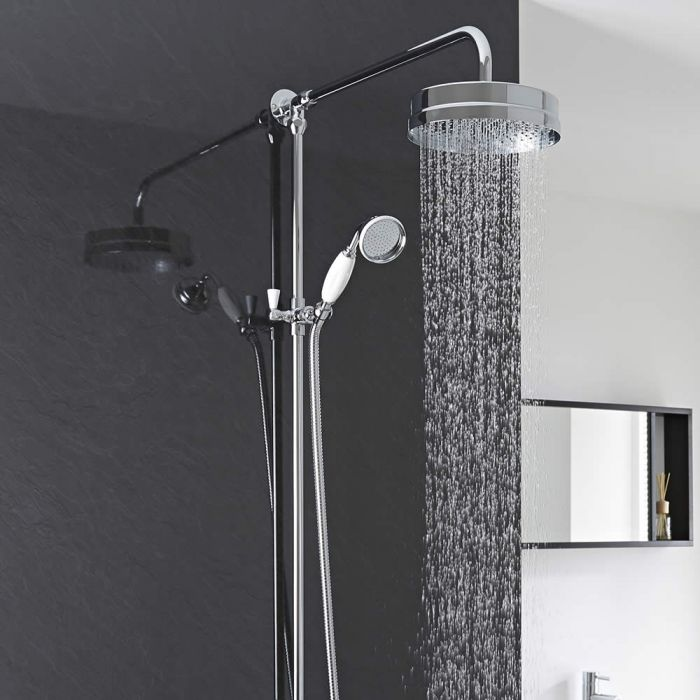 Milano Victoria - Traditional Rigid Riser Shower Kit with Hand Shower - Chrome and White