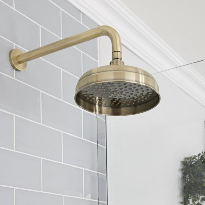 Milano Elizabeth - 200mm Traditional Apron Shower Head - Brushed Gold