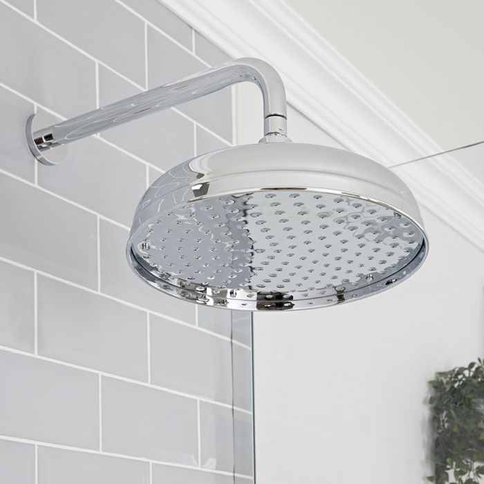 Milano Elizabeth - Chrome 300mm Traditional Apron Shower Head and Wall Arm