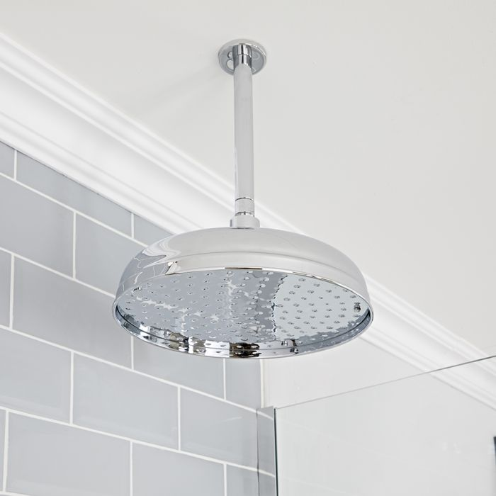 Milano Elizabeth - Chrome 300mm Traditional Apron Shower Head and Ceiling Arm