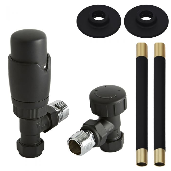 Milano - Modern Black Thermostatic Angled Radiator Valve and Pipe Set