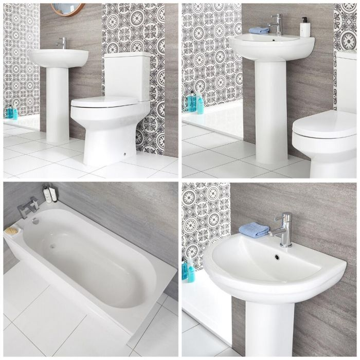 Milano Ballam - Modern Bathroom Suite with Straight Standard Bath