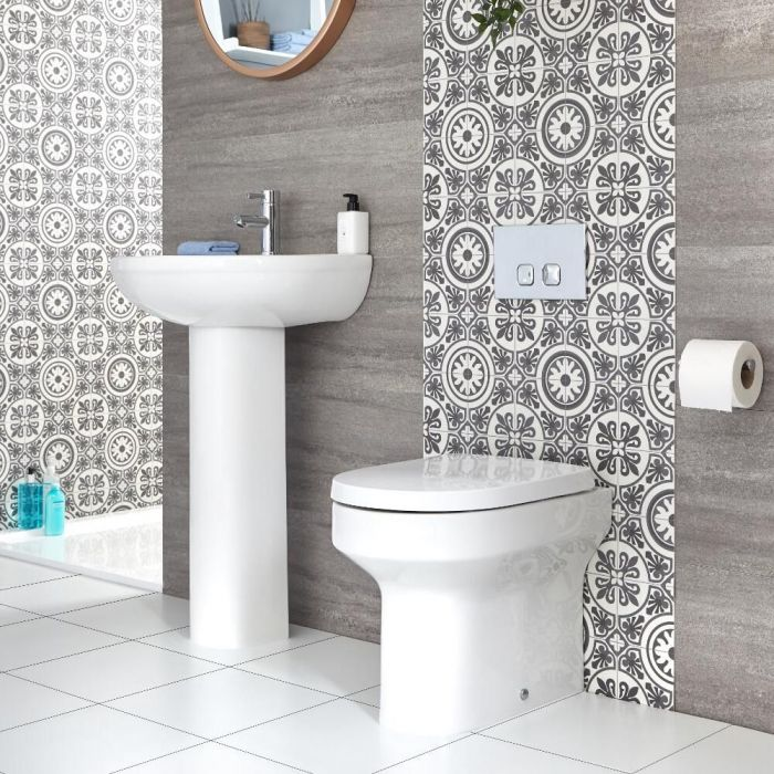 Milano Ballam - Modern Back to Wall Toilet and Pedestal Basin Set