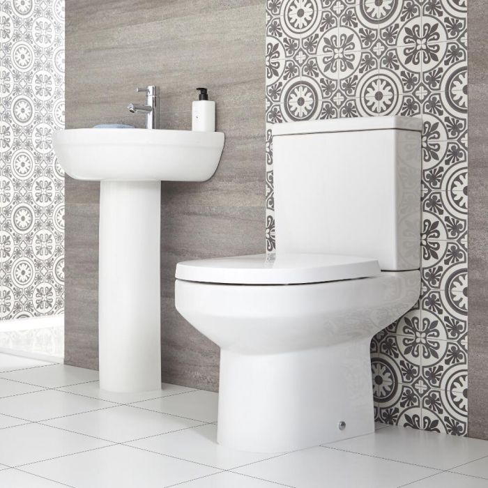 Milano Ballam - Modern Close Coupled Toilet and Pedestal Basin Set