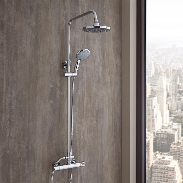Milano Select - Chrome Thermostatic Mixer Shower with Shower Head, Hand Shower and Telescopic Riser Rail (2 Outlet)