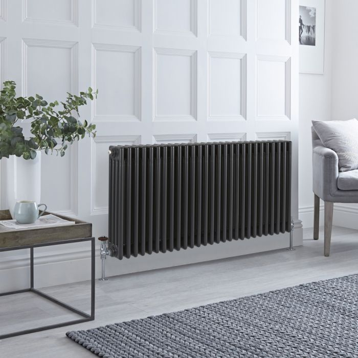 Stelrad Regal - Anthracite Horizontal Traditional Column Radiator - 600mm x 1272mm (Four Column)
