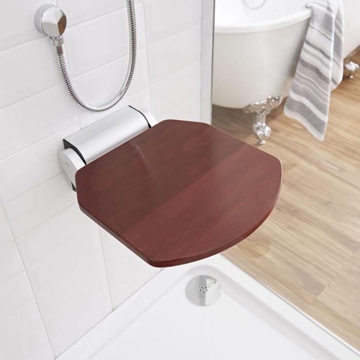 Milano Select - Wall Mounted Folding Shower Seat with Narrow Bracket - Sapele