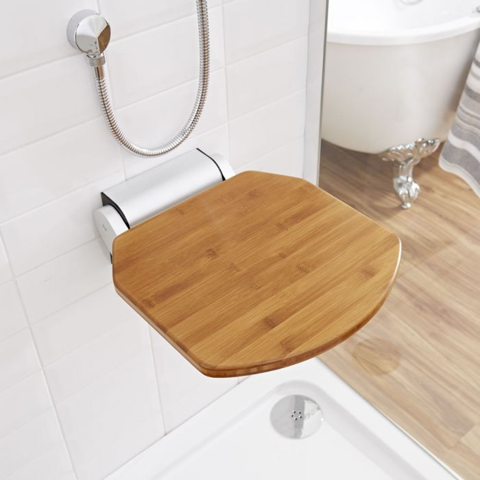 Milano Select - Wall Mounted Folding Shower Seat with Narrow Bracket - Bamboo