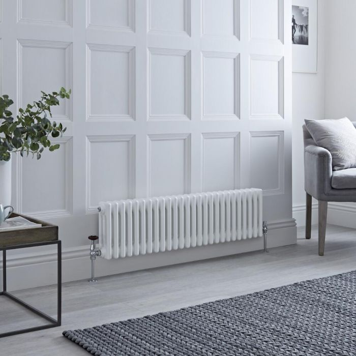 Milano Windsor - White Horizontal Traditional Column Radiator - 300mm x 1190mm (Triple Column)