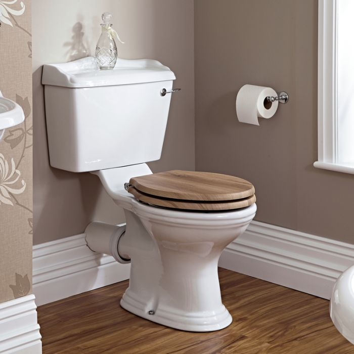 Milano Towneley - White Traditional Close Coupled Toilet with Cistern and Wooden Seat