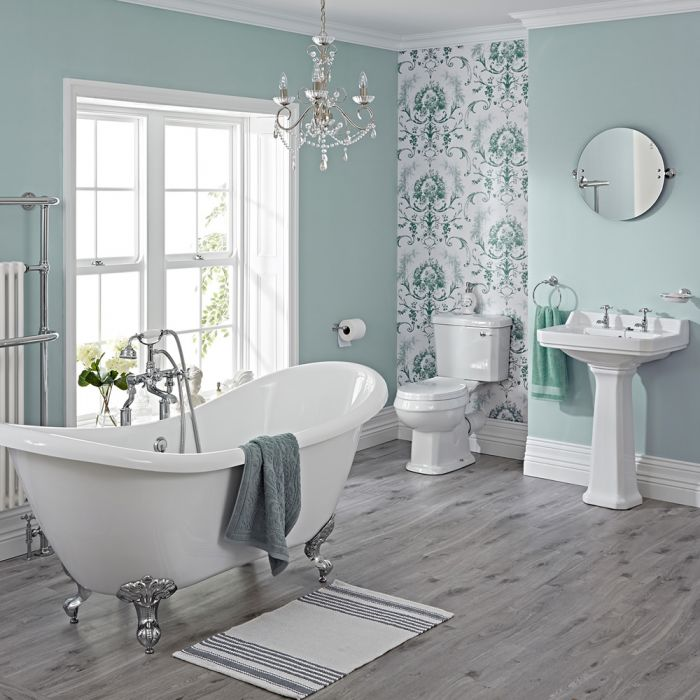 Milano - Traditional Bathroom Suite with Freestanding Bath, Close Coupled Toilet, Pedestal Basin and Taps