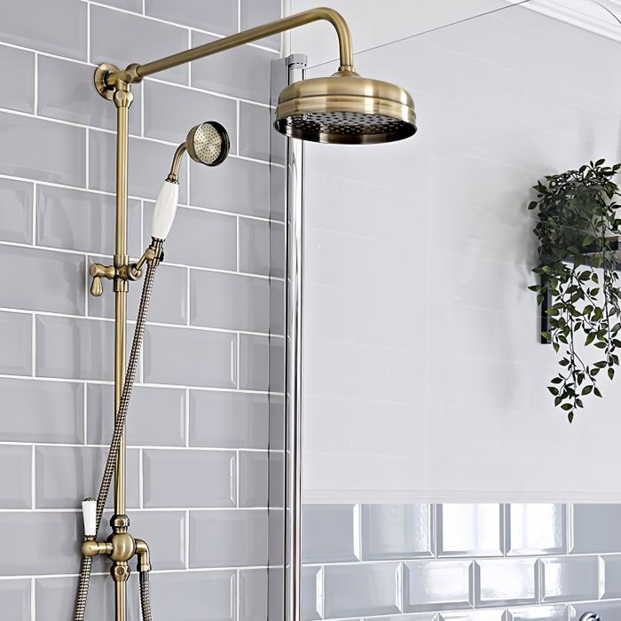 Milano Elizabeth - Traditional Grand Rigid Riser Shower Kit with Hand Shower - Brushed Gold