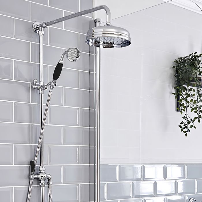 Milano Elizabeth - Traditional Victorian Grand Rigid Riser Shower Kit with Hand Shower - Chrome and Black