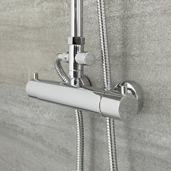 Milano Mirage - Modern Exposed Thermostatic Shower Bar Valve - Chrome