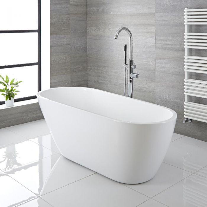 Milano Irwell - White Modern Freestanding Bath - 1670mm x 730mm