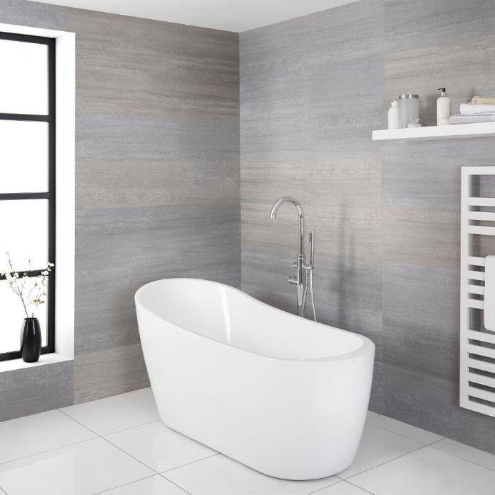 Milano Overton - White Modern Freestanding Slipper Bath - 1665mm x 720mm