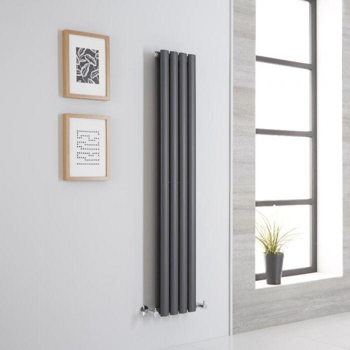 Milano Aruba - Anthracite Vertical Designer Radiator - 1400mm x 236mm (Double Panel)